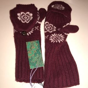 NEW W/ TAGS H&M Knit Maroon Mittens